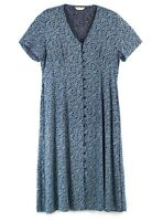 Vtg BonMarche Blue Ditsy Floral Button Front Midi Summer Tea Dress Landgirl 20