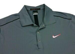 Nike Golf Tiger Woods Hyperlite Solid Gray Polo Shirt Medium Mens