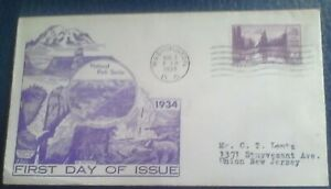 First day of issue, 1934 National Parks Series, Mt. Rainier  Scott # 742