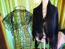 noir es ,lot chale   écharpe avec franges  + noire  mantille  ,église,folklo