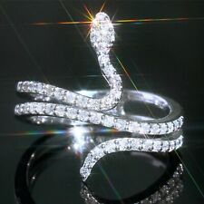 Fashion Snake Women 925 Silver Rings Jewelry White Sapphire Rings Size 6-10