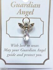 Guardian Angel Lapel Pin & Inspirational Message Card Gift communion