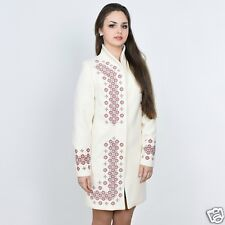 Ukrainian embroidered cashmere warm ethnic coat for women, vyshyvanka. 4 colours