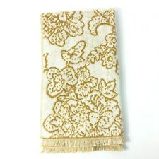 """Threshold Hand Towel Reversible Yellow White Floral 16"""" x 27.5"""