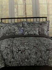 New Esprit Queen Comforter shams deco pillows bed skit 6pc  Gray White Paisley