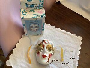 Vintage Ceramic Decorative Face Mask Wall Decor Art In Original Box
