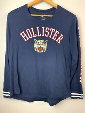 Womens Size Large Hollister Tiger Graphic Jersey Shirt Long Sleeve Navy Blue