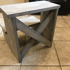 Handcrafted Heavy Duty Step Stool, Wood Bedside Bedroom Kitchen Kids Gray