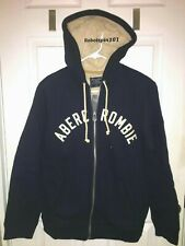 NEW Abercrombie & Fitch Sherpa Lined Full Zip Hoodie Sweatshirt Jacket S Navy