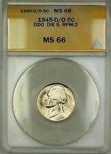 1945-D/D RPM-2 DDO DIE 5 Wartime Silver Jefferson Nickel 5c Coin ANACS MS-66 (D)