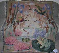 New Frog Dragonfly Afghan Tapestry Throw Blanket Marsh Lilypad Flowers Frogs NIP