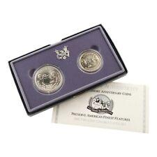 1991 Silver Us Mint Mount Rushmore 2 Coin Commemorative 90% Bu Dollar & Half Set