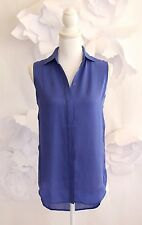 J CREW Sleeveless Hi Lo Hem Button Down Silk Tunic Blouse Top Sz 00/XXS P Blue