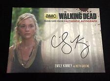 EMILY KINNEY BLACK LOGO AUTOGRAPH Walking Dead Season 4 Part 1 BETH GREENE AUTO