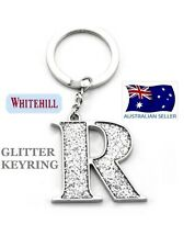 WHITEHILL SILVER GLITTER INITIAL LETTER R KEY RING KEYRING