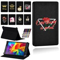 Color Printed Smart Stand Case cover For Samsung Galaxy Tab 3 / 4 Tablet + Pen
