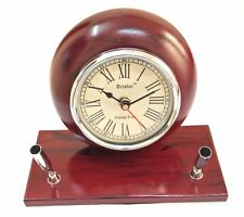 Artshai Cherry colour wooden table clock with pen stand for home and office