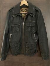 Mens Superdry Black Leather Biker Jacket - Size Small