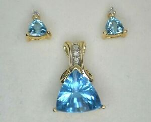 10K YELLOW GOLD DIAMOND AND BLUE GEMSTONE PENDANT AND STUD SET
