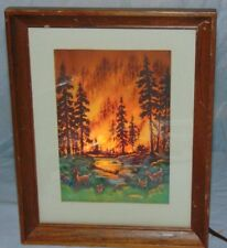 RARE 1953 Econolite Forest Fire Deer Rotating Motion Lamp Picture Frame