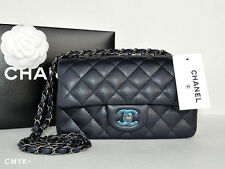 NWT CHANEL MINI CAVIAR NAVY / BLACK WSH CLASSIC FLAP BAG WOC ~RARE