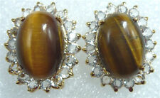 Natural Real Yellow Tigereye Tigers Eye Opal 18KGP Inlay Crystal Stud Earrings