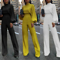 Women Jumpsuit Long Sleeve High Collar Long Wide Leg Straight Trousers Solid