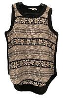 Ann Taylor LOFT Top Brown Black Linen Aztec Print Ethnic Crochet Blouse Size XS