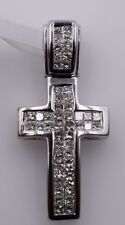 14K White Gold & Diamond Small Cross Pendant