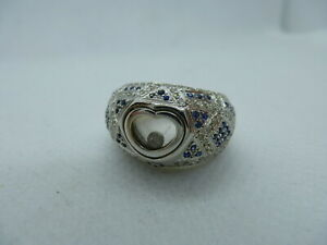 Ladies 18ct White Gold Sapphire & 55pt Diamond Heart Floating Stone Ring Size N
