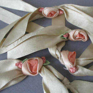 4 Antique Champagne SATIN RIBBON Bows FRIENDSHIP Knots w Silk RIBBONWORK Roses
