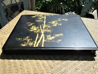 Antique Asian Style Sloped Lap Writing Desk, Black Lacquer Gold Bamboo