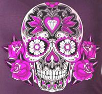 Motorcycle T-shirt Biker Sugar Skull Ladies Fitted Purple Short Sleeve New S M L