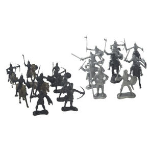 28pcs Medieval Knight Horses Soldiers Model Warrior Figures Playset