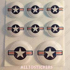 8 x Coccarda Stati Uniti USA Adesivi Resinati 3D TONDO Bandiera Aeronautica