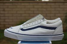 VANS VAUT OLD SKOOL ZIP LX SZ 8 LEATHER ZIPPER WHITE BLUE VN 0YR51EF