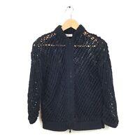 Brunello Cucinelli Sweater Jacket L Black Open Knit Zip Up Cotton Women's LS
