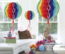 3 SIZES MULTICOLOURED HANGING HONEYCOMB BALL PARTY DECORATIONS