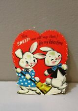 Vtg Valentine Card 60's Dressed White Bunny Rabbits Broom Sweep Me Off My Feet