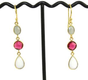 Sale Pear Triple Multi Gemstone Bezel Hook Gold Plated Womens Designer Earring