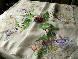 VINTAGE HAND EMBROIDERED LINEN TABLECLOTH/ STUNNING CRINOLINE LADIES/GARDENS