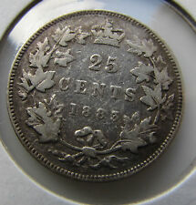 Canada 1883 H 25 Cents Quarter Queen Victoria Lots of Remaining Details