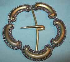 HUGE ANTIQUE GERMAN CUT STEEL & BRASS BELT BUCKLE 1800s Decorative Edwardian
