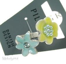 Pilgrim ajustable Ring encantado Flor De Plata/Pastel Swarovski & Esmalte BNWT