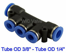 5pcs Pneumatic Manifold Union Push In Fitting Tube OD 3/8 To OD 1/4 One Touch
