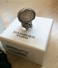 Authentic Ysl Arty Oval Silver Ring With Ice Stone Yves Saint Laurent RARE Sz 7