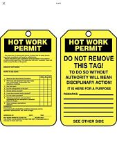 "Accuform Permit Tag, Hot Work, Cardstock, 5-3/4"" x 3-1/4"" Cardstock Tcs361Ctp"
