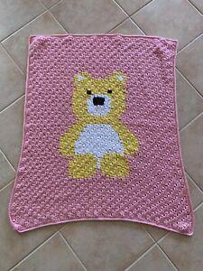 Handmade Crochet Pink Yellow Teddy Bear  Baby Blanket