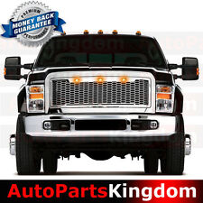08-10 Ford Super Duty Raptor Style Chrome Mesh Grille+Shell+Amber 3x LED light
