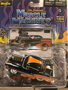1/64 MAISTO MUSCLE MACHINES 1958 CHEVROLET IMPALA ORANGE & BLACK